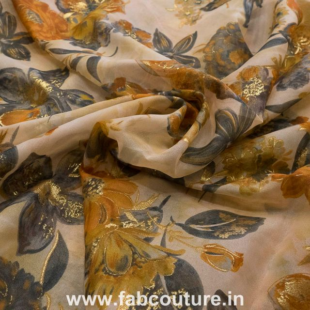 Organza Print with Gold