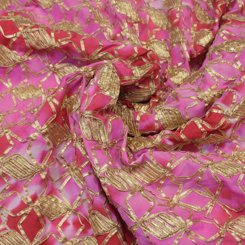 Shaded Chiffon Gota Embroidery