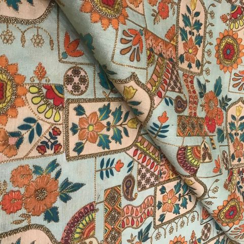 Poly Dupion print embroidery