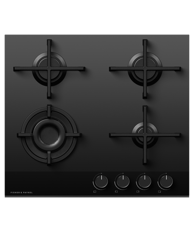 60cm 4 Burner Gas on Glass Cooktop LPG - Black