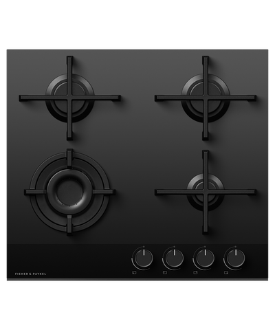 60cm 4 Burner Gas on Glass Cooktop NG - Black
