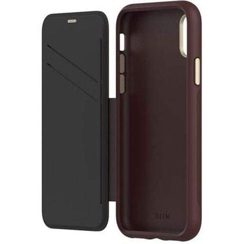 EFM Monaco D30 Leather Wallet Case - iPhone X / XS - Mulberry