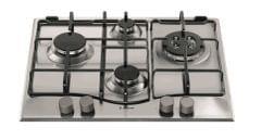 ARISTON 60cm Gas Cooktop - Flame Failure, Cast Iron Trivets