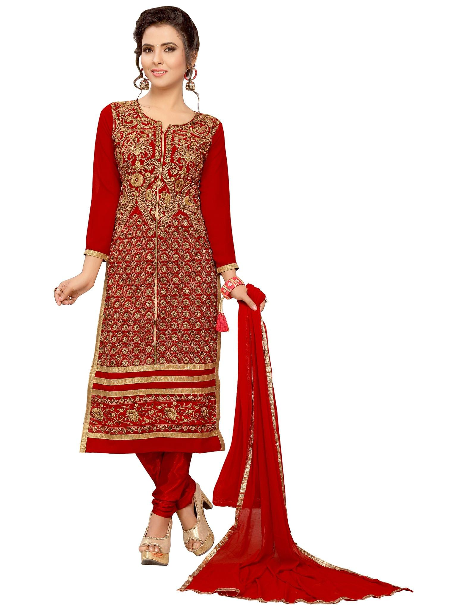 Minu Suits Salwar Suits Sets Geogette Red Unstitched Freesize