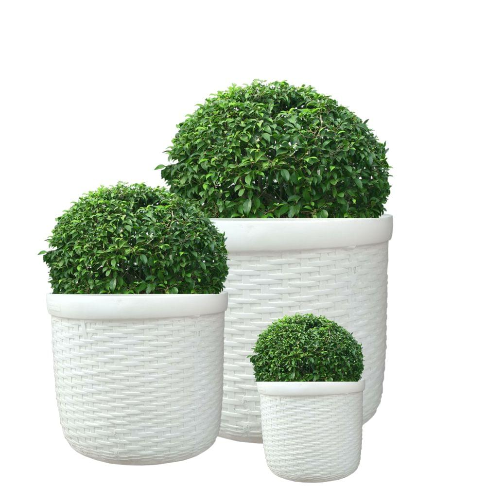 Cream White Round Set Of 3 Bab Cyl 9 Inches 12 Inches 16 Inches Planter