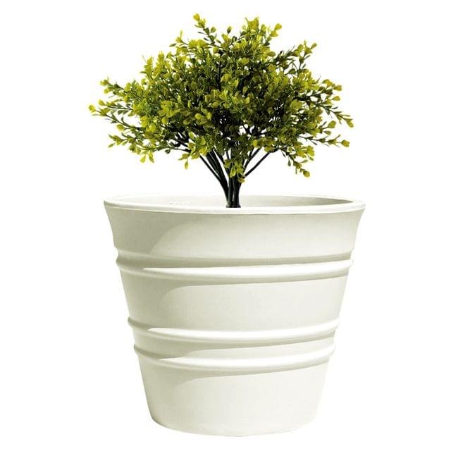 Yuccabe Italia FOX-B BR White Round 9 Inches Planter