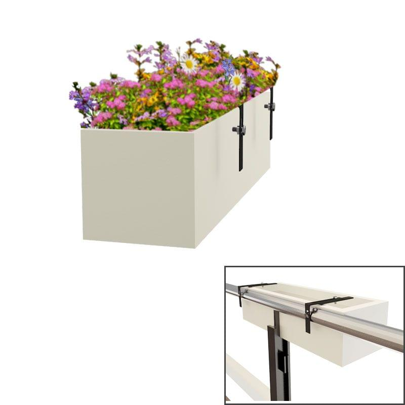 Creame White 24 Inches Box Tray Railing Hanging Planter