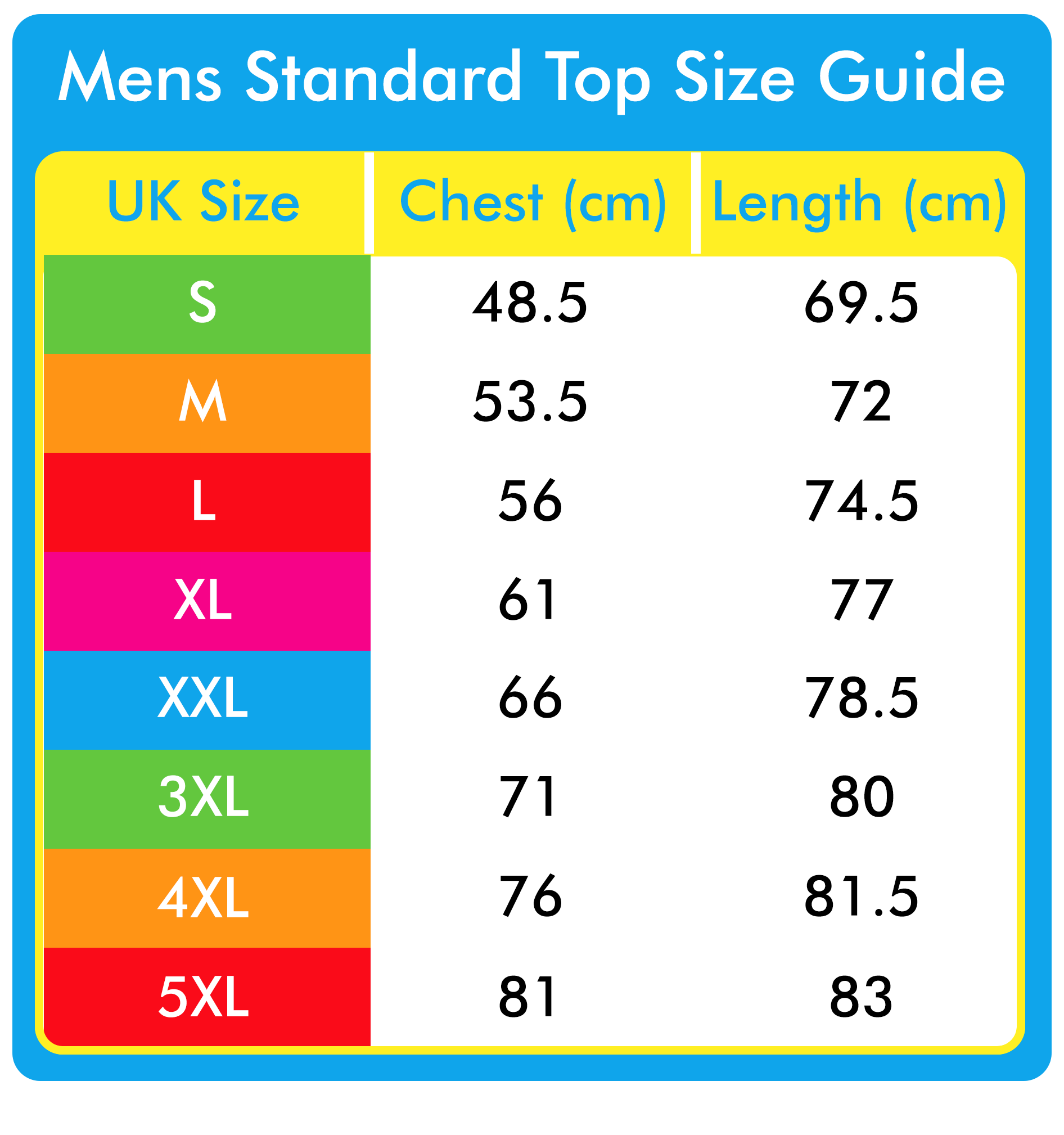 Mens Top Size Guide