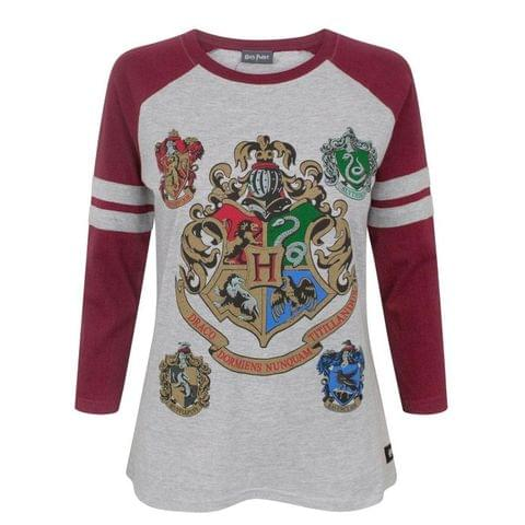 Harry Potter Womens/Ladies Hogwarts Raglan Top