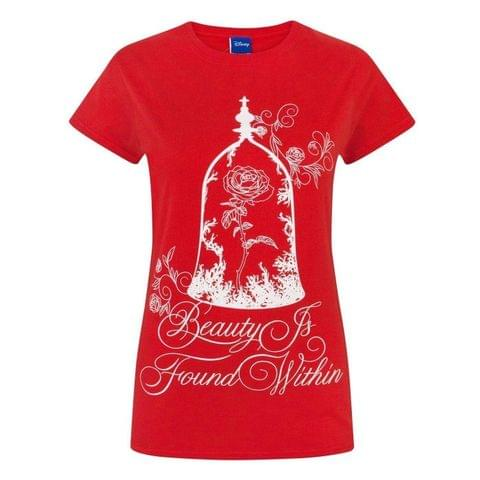 Disney Womens/Ladies Beauty And The Beast Enchanted Rose T-Shirt