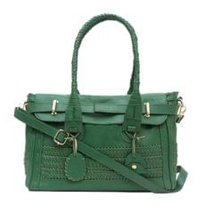 Handcrafted Waving Bordered Handbag Green