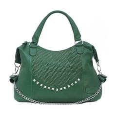 Hand Crafted Weaving Mesh Body Ladies Handbag Green