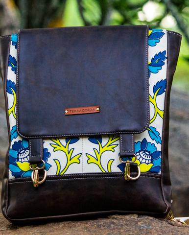 Electric Blue Print & Mud Brown Pitthoo Backpack