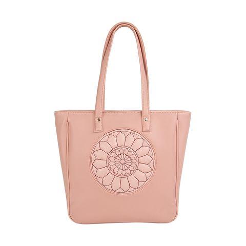 Pastel Pink Carved Circle Tote Bag