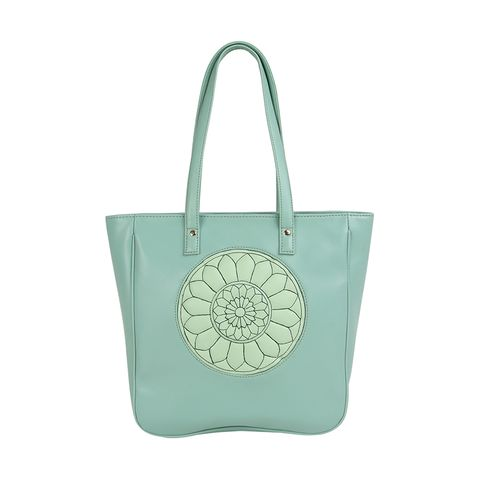 Mint Green Carved Circle Tote Bag-New Leaf