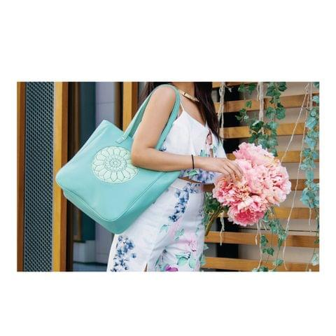 Sky Blue Carved Circle Tote Bag