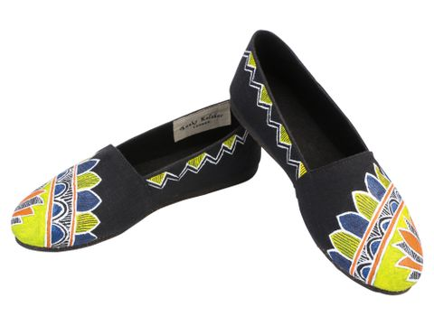 Handpainted Black Slip-ons