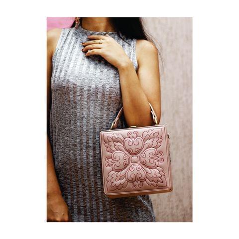 Pastel Pink Square Floret Charm Bag