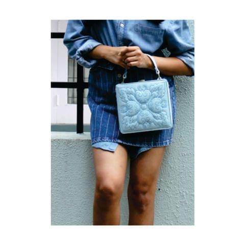 Sky Blue Square Floret Charm Bag