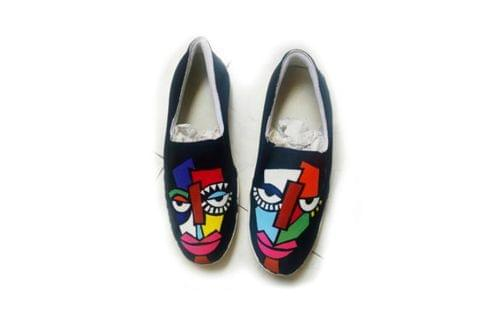 TWO FACE HAND PAINTED CANVAS SHOEs