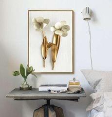 Twin Golden Leaf Framed Canvas Wall Print