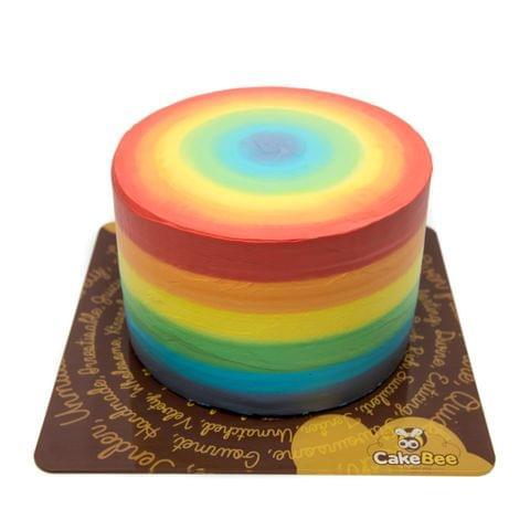 Rainbow Round Cake