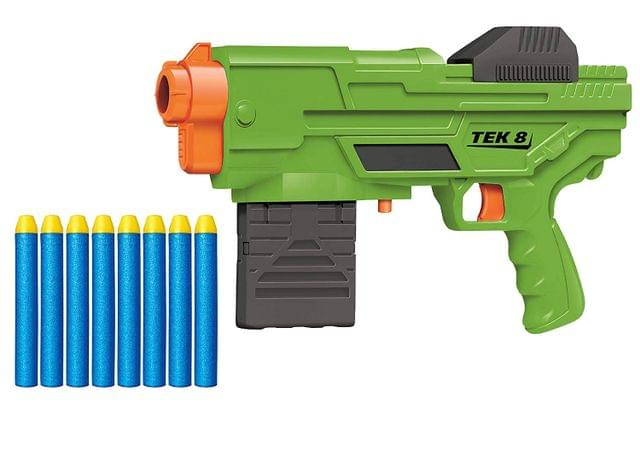 Buzz Bee Air Warrior Tek 8 Blaster Toy Gun with 8-Dart Clip & 8 Long Distance Darts, Multi Color