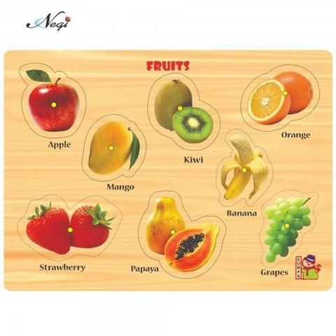 Negi Wooden Colorful Learning Educational Puzzle Board for Kids with Knobs, Educational Learning Wooden Board Tray, Size- 28.5cm X 20.5cm, Available in 8 Different Variants (Fruits)
