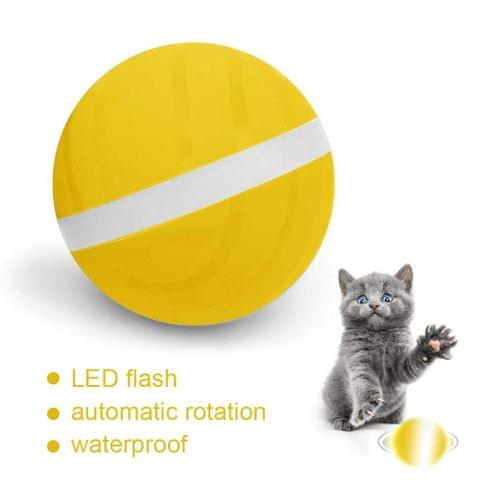 LAYOPO Pet Toy Flashing Ball, USB Electric Pet Ball Automatic Rolling Ball with Flashing LED Light, Waterproof Durable Silicone Interactive Pet Toy, Wicked Ball Fun Toy for Pet Cat Dog