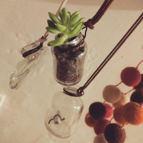 Wonky Bottle Locket - Planter  with Plant