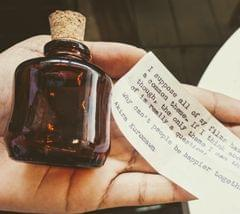 Mini Wonky Message in Bottle - Typewritten Message