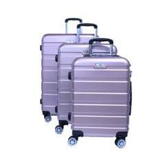 PLATINUM TRAVEL TROLLEY BAG   UNBREAKABLE HARD   PINK   3 SET   RA8728