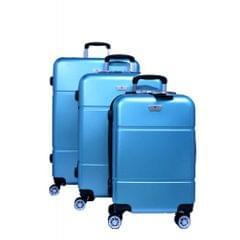 PLATINUM TRAVEL TROLLEY BAG   UNBREAKABLE HARD   WIRE DRAWING BLUE   3 SET   RA8729