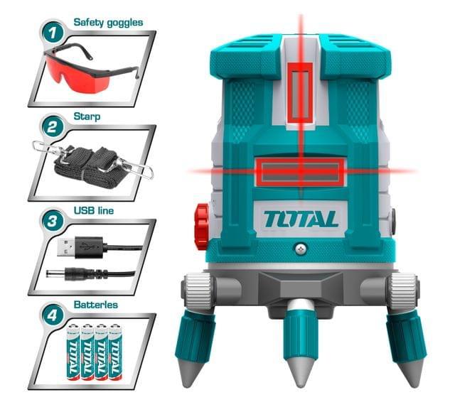 TOTAL | Self-Leveling Line Laser | Red laser beams | TLL306505