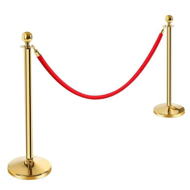 Brass Queue Barrier   Posts Security Stanchion Rope Divider Steel Set Gold   1 Pair