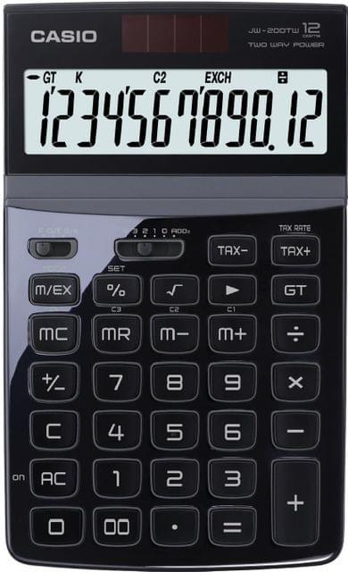 CASIO   Desktop Calculator   72.6g   Black   JW-200TW-BK-S-DP