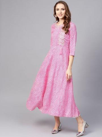 Yufta Women Pink & White Leheriya Print A-Line Kurta