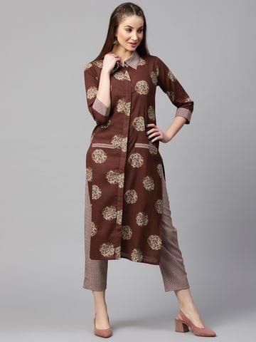 Yufta Women Brown & Off-White Printed Kurta with Trousers