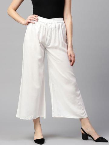 Yufta Women White Solid Wide Leg Palazzos