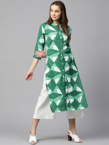 Yufta Women Green & White Printed Straight Kurta