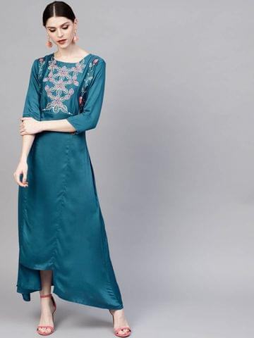 Women Teal Blue Solid Maxi Dress with Embroidered Detail