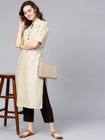 Women Beige & Brown Self Design Kurta with Trousers