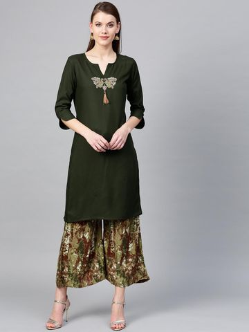 Women Olive Green & Maroon Yoke Design Kurta with Palazzos