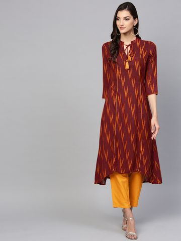 Yufta Women Maroon & Yellow Printed Kurta with Trousers