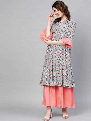 Yufta Women Blue & Peach-Coloured Printed Kurta with Sharara