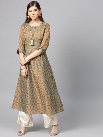 Yufta Women Green & Pink Woven Design A-Line Kurta