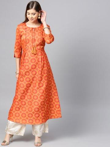 Yufta Women Orange & Red Woven Design A-Line Kurta