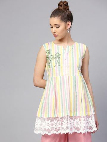 Yufta White & Pink Striped Tunic