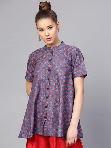 Yufta Blue & Red Printed Tunic
