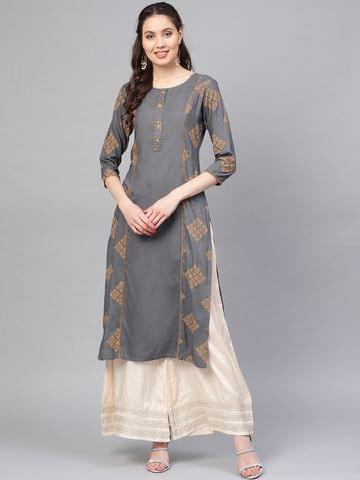 Women Charcoal Grey & Yellow Printed Straight Kurta